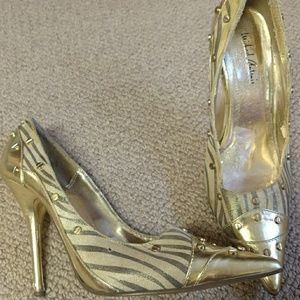 Michael Antonio Gold Embellished Heels